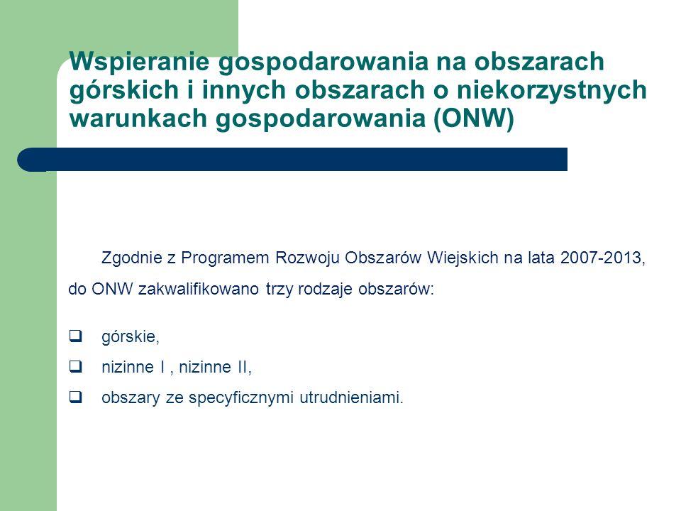 Zgodnie z Programem Rozwoju Obszarów Wiejskich na lata 2007-2013, do ONW zakwalifikowano trzy rodzaje obszarów:  górskie,  nizinne I, nizinne II,  obszary ze specyficznymi utrudnieniami.