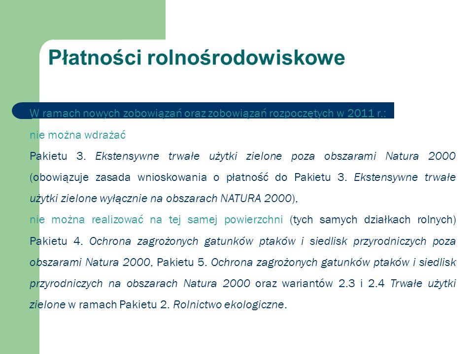 W ramach nowych zobowiązań oraz zobowiązań rozpoczętych w 2011 r.: nie można wdrażać Pakietu 3.