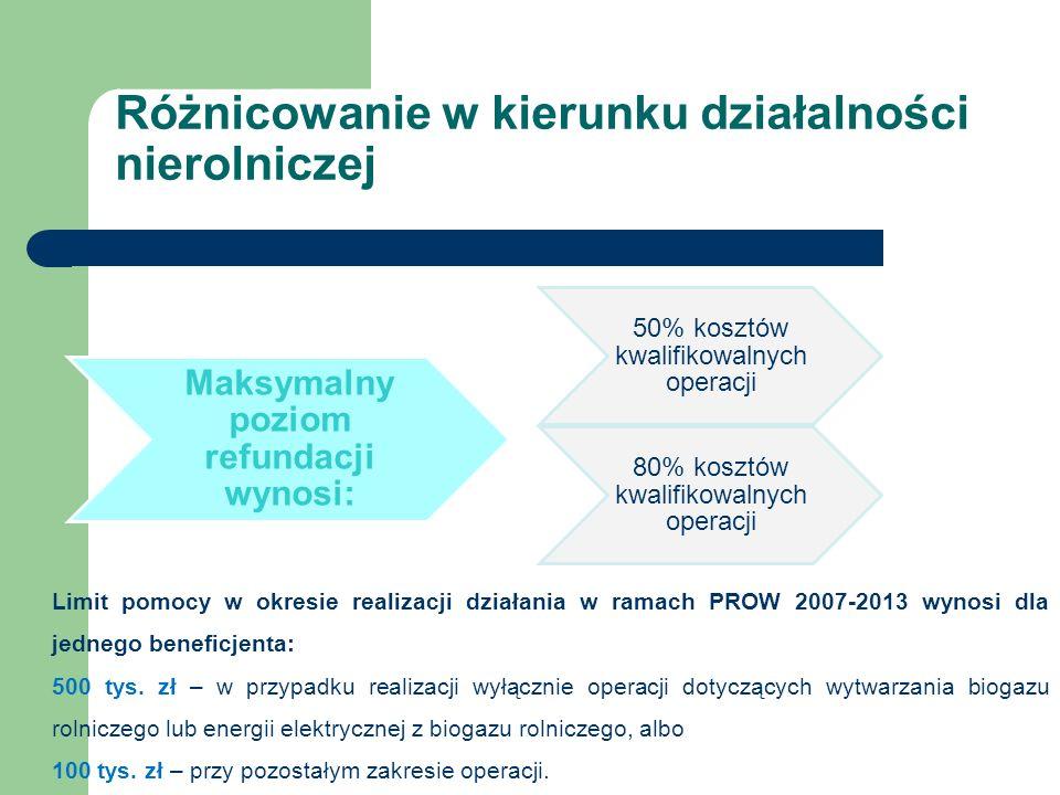 Maksymalny poziom refundacji wynosi: 50% kosztów kwalifikowalnych operacji 80% kosztów kwalifikowalnych operacji Limit pomocy w okresie realizacji działania w ramach PROW 2007-2013 wynosi dla jednego beneficjenta: 500 tys.