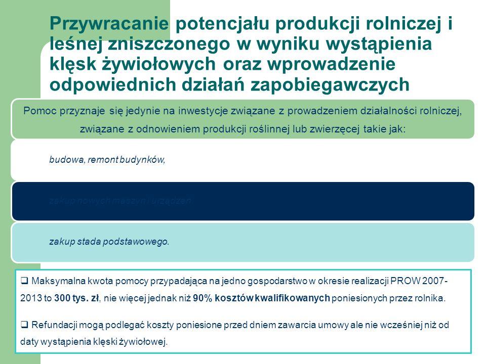  Maksymalna kwota pomocy przypadająca na jedno gospodarstwo w okresie realizacji PROW 2007- 2013 to 300 tys.