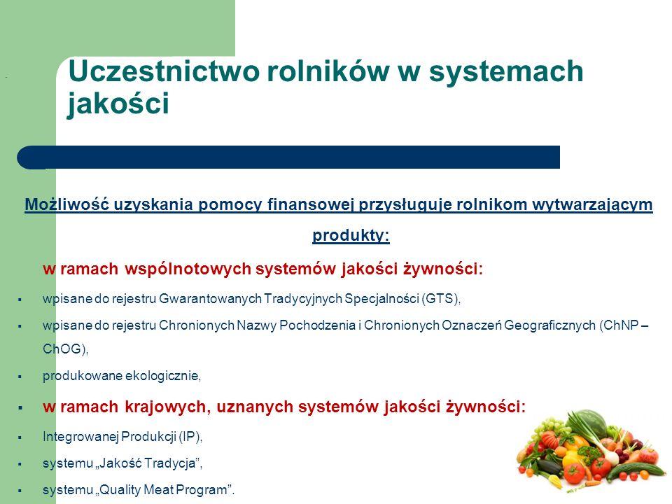 """Możliwość uzyskania pomocy finansowej przysługuje rolnikom wytwarzającym produkty: w ramach wspólnotowych systemów jakości żywności:  wpisane do rejestru Gwarantowanych Tradycyjnych Specjalności (GTS),  wpisane do rejestru Chronionych Nazwy Pochodzenia i Chronionych Oznaczeń Geograficznych (ChNP – ChOG),  produkowane ekologicznie,  w ramach krajowych, uznanych systemów jakości żywności:  Integrowanej Produkcji (IP),  systemu """"Jakość Tradycja ,  systemu """"Quality Meat Program ."""