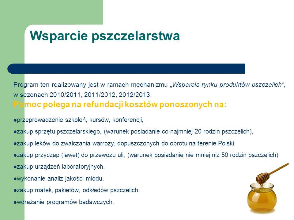 """Program ten realizowany jest w ramach mechanizmu """"Wsparcia rynku produktów pszczelich , w sezonach 2010/2011, 2011/2012, 2012/2013."""