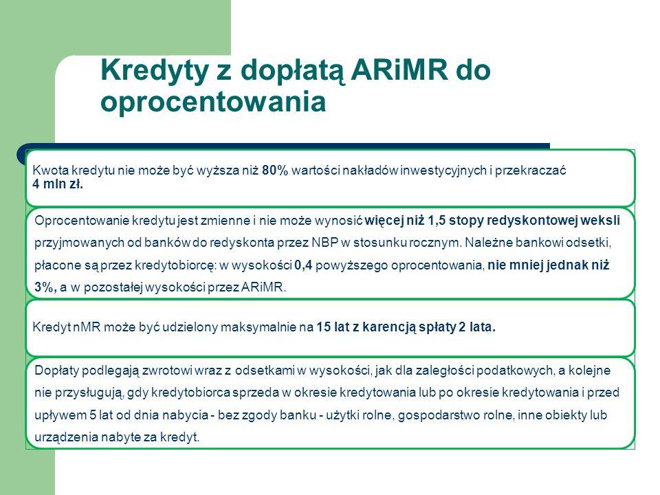Kwota kredytu nie może być wyższa niż 80% wartości nakładów inwestycyjnych i przekraczać 4 mln zł.