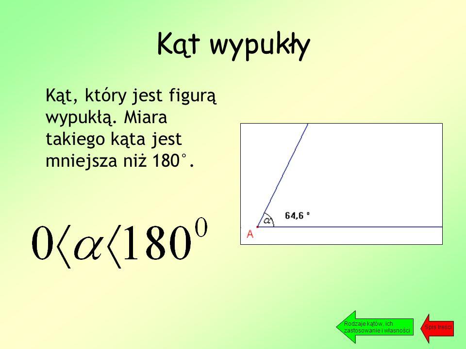 Kąt wypukły Kąt, który jest figurą wypukłą. Miara takiego kąta jest mniejsza niż 180°.