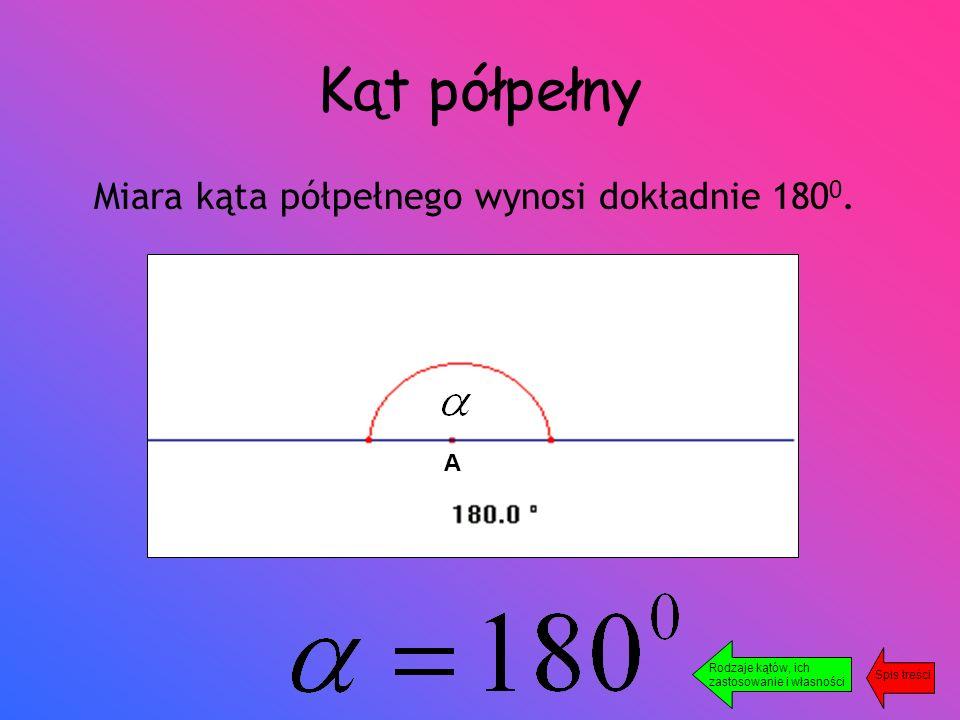 Kąt półpełny Miara kąta półpełnego wynosi dokładnie 180 0.
