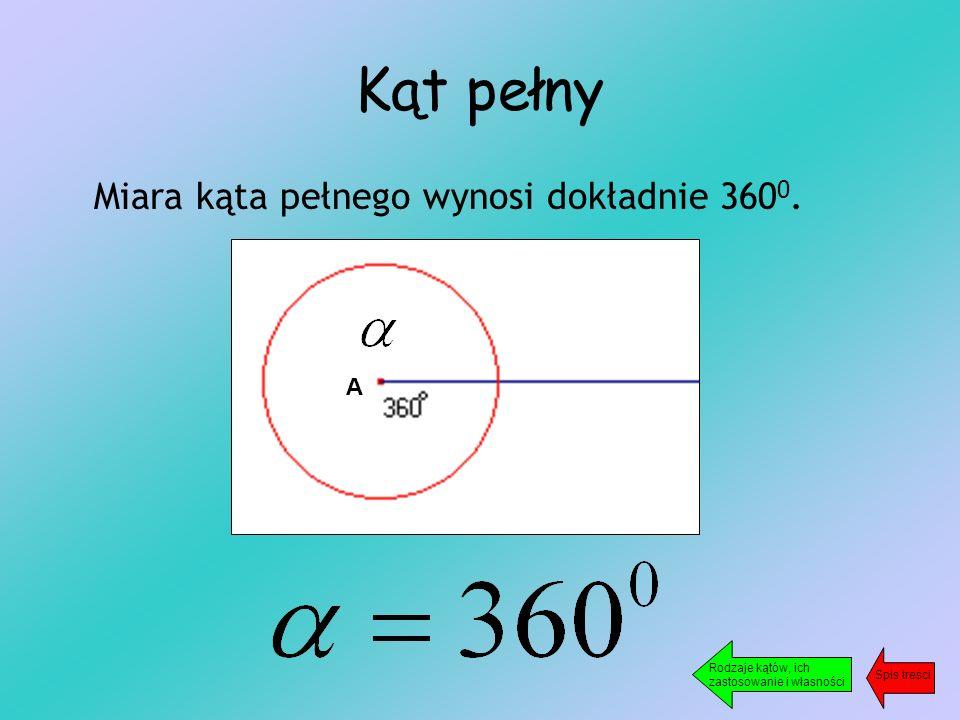 Kąt pełny Miara kąta pełnego wynosi dokładnie 360 0.