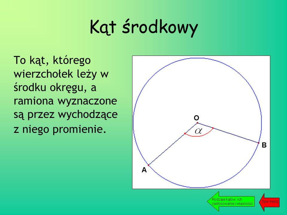 Kąt środkowy To kąt, którego wierzchołek leży w środku okręgu, a ramiona wyznaczone są przez wychodzące z niego promienie.