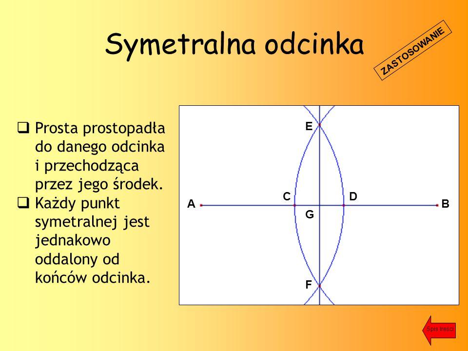 Symetralna odcinka  Prosta prostopadła do danego odcinka i przechodząca przez jego środek.
