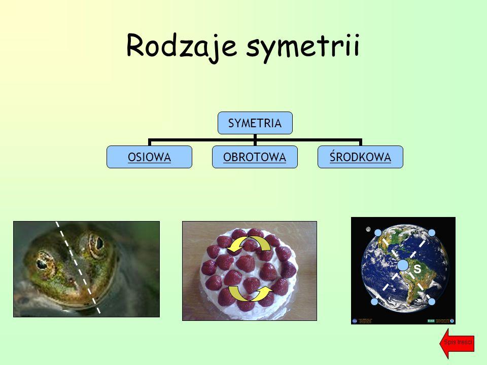 Rodzaje symetrii SYMETRIA OSIOWAOBROTOWAŚRODKOWA S Spis treści
