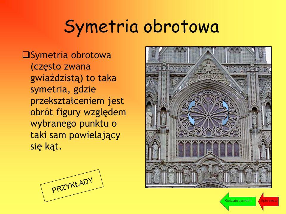 Symetria obrotowa PRZYKŁADY  Symetria obrotowa (często zwana gwiaździstą) to taka symetria, gdzie przekształceniem jest obrót figury względem wybranego punktu o taki sam powielający się kąt.