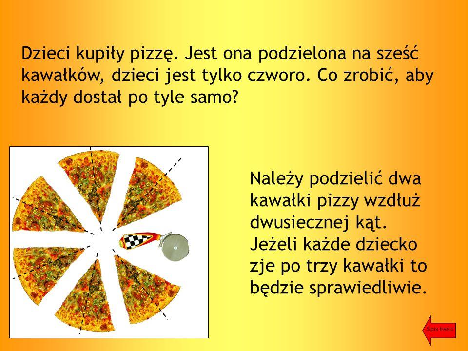 Dzieci kupiły pizzę. Jest ona podzielona na sześć kawałków, dzieci jest tylko czworo.
