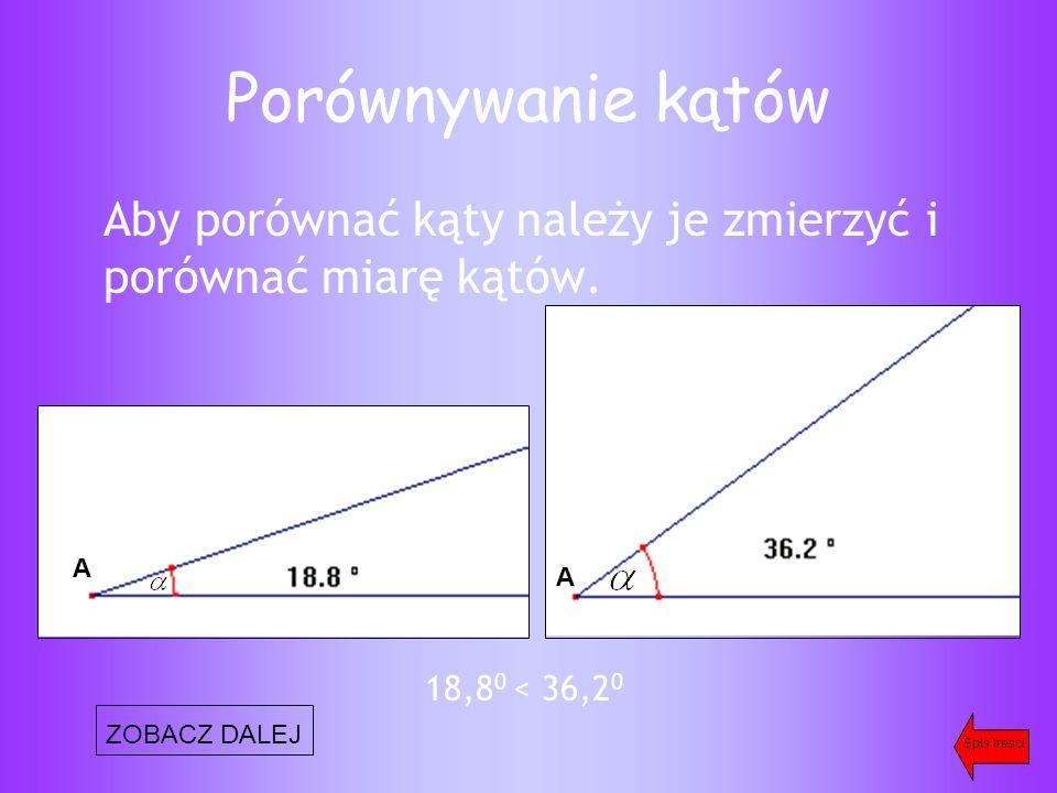 Porównywanie kątów Aby porównać kąty należy je zmierzyć i porównać miarę kątów.
