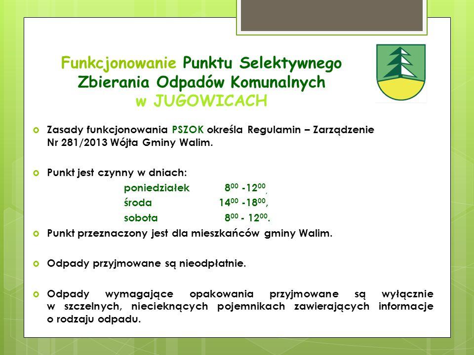Zasady funkcjonowania Punktu Selektywnego Zbierania Odpadów Komunalnych w JUGOWICACH Odpady dostarczane do PSZOK w pierwszej kolejności będą poddawane kontroli ilościowej (pomiar masy), następnie kontroli jakościowej, a w dalszej kolejności gromadzone, składowane i przekazywane uprawnionemu podmiotowi odbierającemu odpady do odzysku lub unieszkodliwienia zgodnie z obowiązującą Ustawą z dnia 14 grudnia 2012 r.