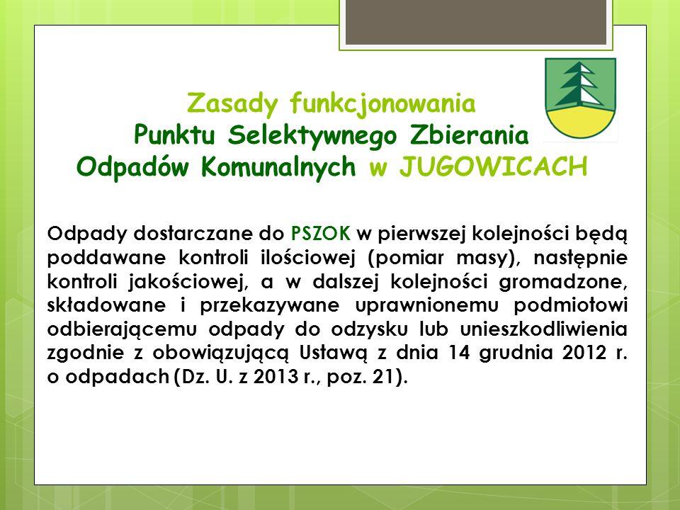 Zasady funkcjonowania Punktu Selektywnego Zbierania Odpadów Komunalnych w JUGOWICACH  Każdorazowe przyjęcie odpadów do PSZOK potwierdzane jest na formularzu przyjęcia odpadów,  Pracownik PSZOK prowadzi ewidencję przyjmowanych odpadów.