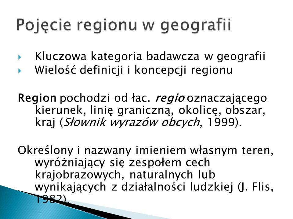  Kluczowa kategoria badawcza w geografii  Wielość definicji i koncepcji regionu Region pochodzi od łac.