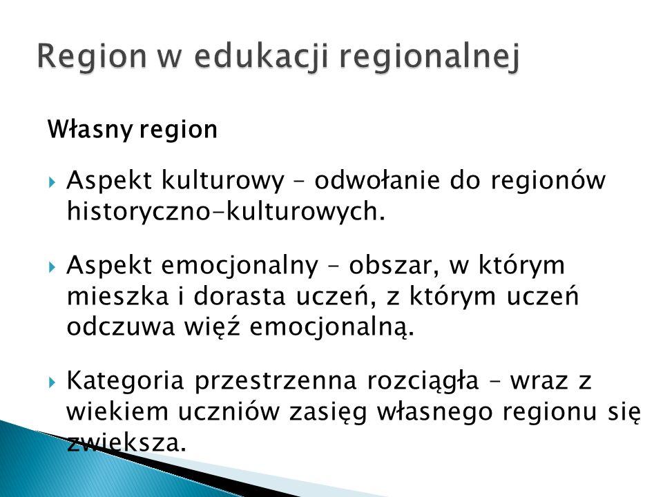 Własny region  Aspekt kulturowy – odwołanie do regionów historyczno-kulturowych.
