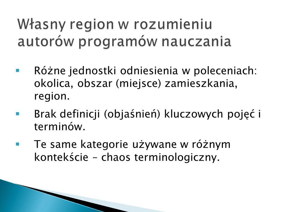  Różne jednostki odniesienia w poleceniach: okolica, obszar (miejsce) zamieszkania, region.