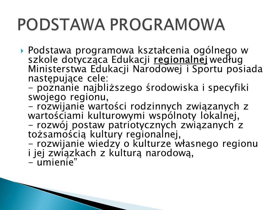  Podstawa programowa kształcenia ogólnego w szkole dotycząca Edukacji regionalnej według Ministerstwa Edukacji Narodowej i Sportu posiada następujące cele: - poznanie najbliższego środowiska i specyfiki swojego regionu, - rozwijanie wartości rodzinnych związanych z wartościami kulturowymi wspólnoty lokalnej, - rozwój postaw patriotycznych związanych z tożsamością kultury regionalnej, - rozwijanie wiedzy o kulturze własnego regionu i jej związkach z kulturą narodową, - umienie