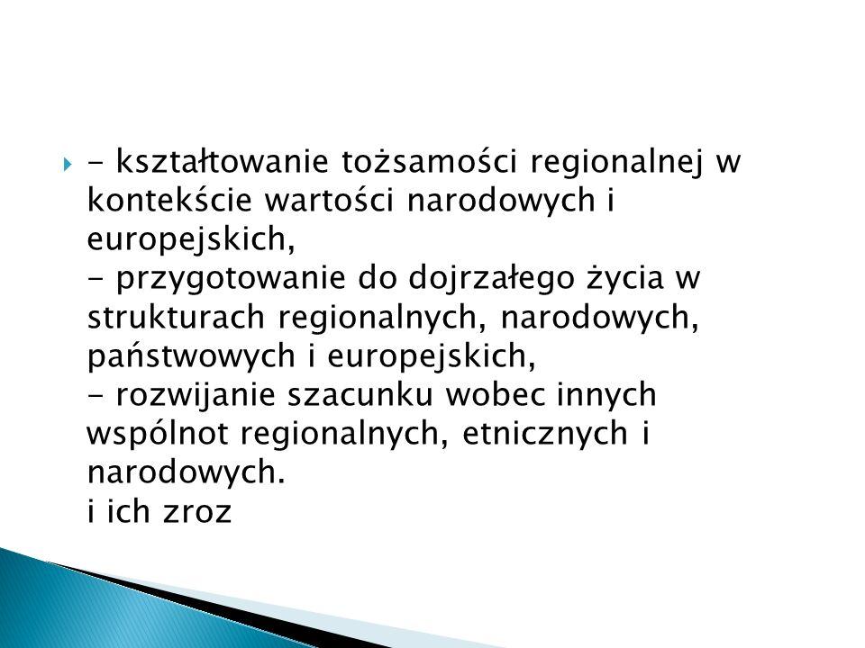  - kształtowanie tożsamości regionalnej w kontekście wartości narodowych i europejskich, - przygotowanie do dojrzałego życia w strukturach regionalnych, narodowych, państwowych i europejskich, - rozwijanie szacunku wobec innych wspólnot regionalnych, etnicznych i narodowych.