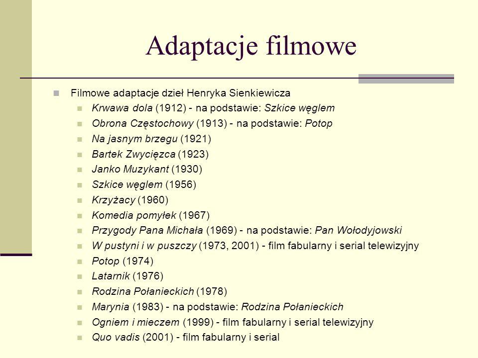Powieści Henryka Sienkiewicza Powieści Trylogia: Ogniem i mieczem (1884), Potop (1886), Pan Wołodyjowski (1888) Bez dogmatu (1891) Rodzina Połanieckic