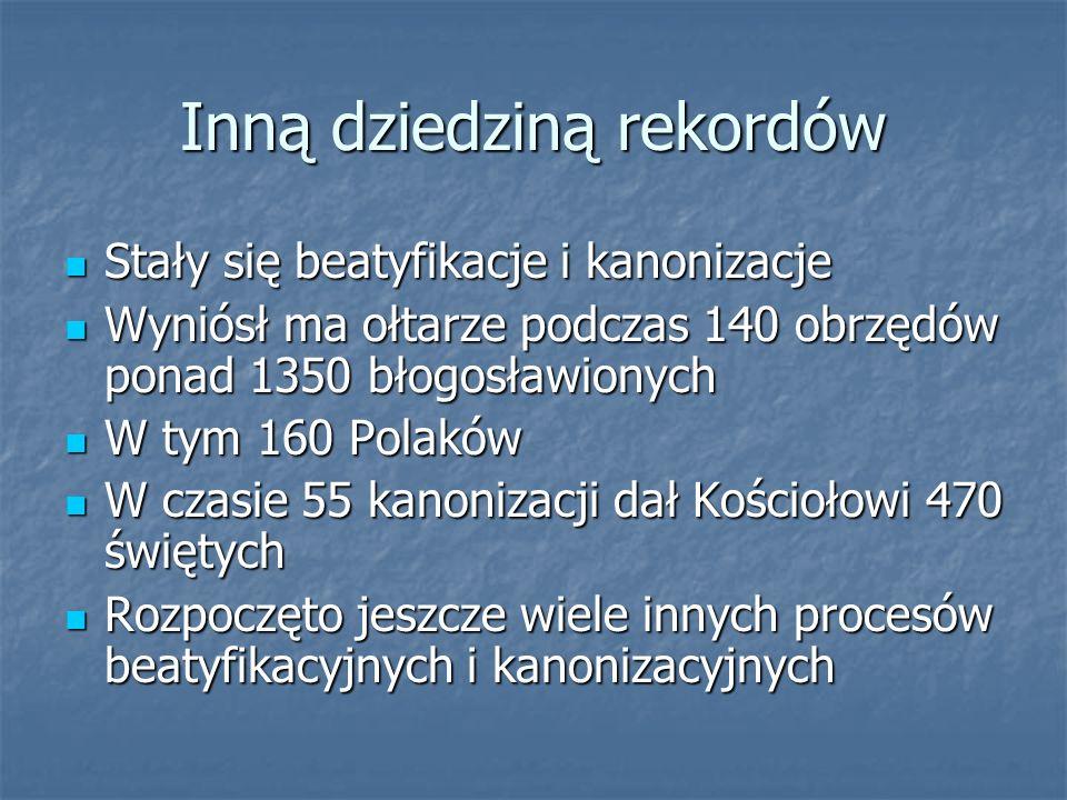 Jan Paweł II Mianował też mniej więcej 2/3 światowego episkopatu Mianował też mniej więcej 2/3 światowego episkopatu W tym ponad 320 biskupom osobiście udzielił sakry W tym ponad 320 biskupom osobiście udzielił sakry Wyświęcił osobiście 2810 kapłanów Wyświęcił osobiście 2810 kapłanów Ochrzcił 1378 osób dzieci i dorosłych Ochrzcił 1378 osób dzieci i dorosłych Bierzmował 1581 osób Bierzmował 1581 osób 77 osobom udzielił sakramentu chorych 77 osobom udzielił sakramentu chorych