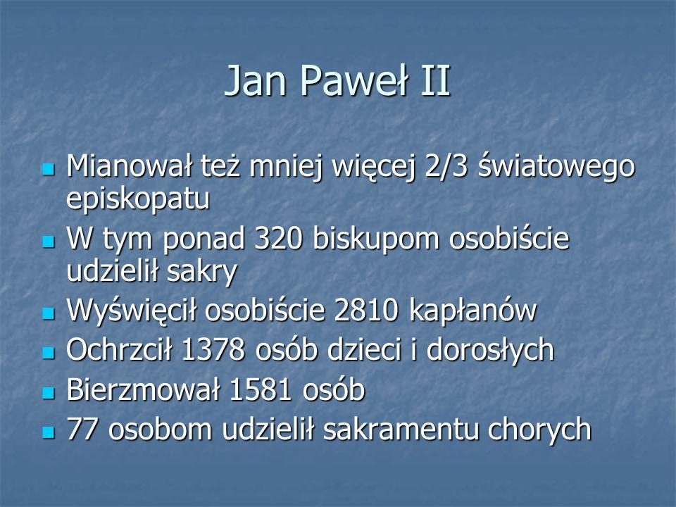 Jan Paweł II Mianował też mniej więcej 2/3 światowego episkopatu Mianował też mniej więcej 2/3 światowego episkopatu W tym ponad 320 biskupom osobiści