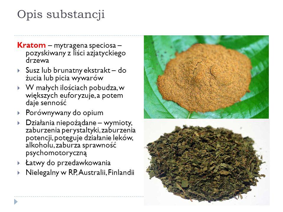 Opis substancji Kratom – mytragena speciosa – pozyskiwany z liści azjatyckiego drzewa  Susz lub brunatny ekstrakt – do żucia lub picia wywarów  W małych ilościach pobudza, w większych euforyzuje, a potem daje senność  Porównywany do opium  Działania niepożądane – wymioty, zaburzenia perystaltyki, zaburzenia potencji, potęguje działanie leków, alkoholu, zaburza sprawność psychomotoryczną  Łatwy do przedawkowania  Nielegalny w RP, Australii, Finlandii