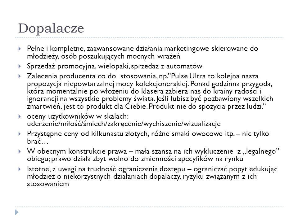 Dopalacze  Pełne i kompletne, zaawansowane działania marketingowe skierowane do młodzieży, osób poszukujących mocnych wrażeń  Sprzedaż promocyjna, wielopaki, sprzedaz z automatów  Zalecenia producenta co do stosowania, np. Pulse Ultra to kolejna nasza propozycja niepowtarzalnej mocy kolekcjonerskiej.