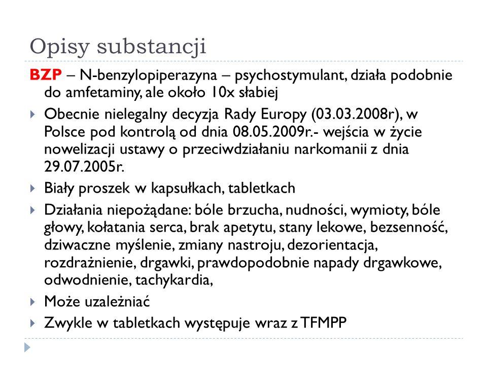 Opisy substancji BZP – N-benzylopiperazyna – psychostymulant, działa podobnie do amfetaminy, ale około 10x słabiej  Obecnie nielegalny decyzja Rady Europy (03.03.2008r), w Polsce pod kontrolą od dnia 08.05.2009r.- wejścia w życie nowelizacji ustawy o przeciwdziałaniu narkomanii z dnia 29.07.2005r.