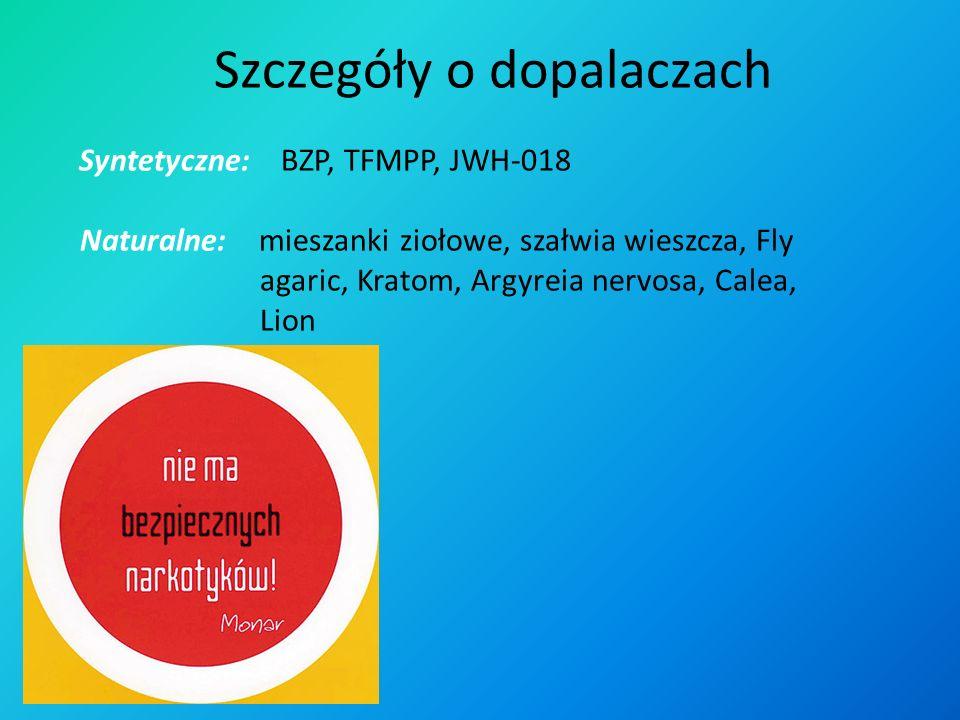 Szczegóły o dopalaczach Syntetyczne: BZP, TFMPP, JWH-018 Naturalne: mieszanki ziołowe, szałwia wieszcza, Fly agaric, Kratom, Argyreia nervosa, Calea, Lion