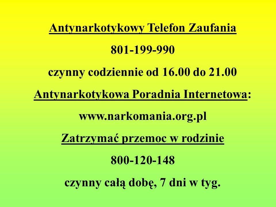 Antynarkotykowy Telefon Zaufania 801-199-990 czynny codziennie od 16.00 do 21.00 Antynarkotykowa Poradnia Internetowa: www.narkomania.org.pl Zatrzymać przemoc w rodzinie 800-120-148 czynny całą dobę, 7 dni w tyg.
