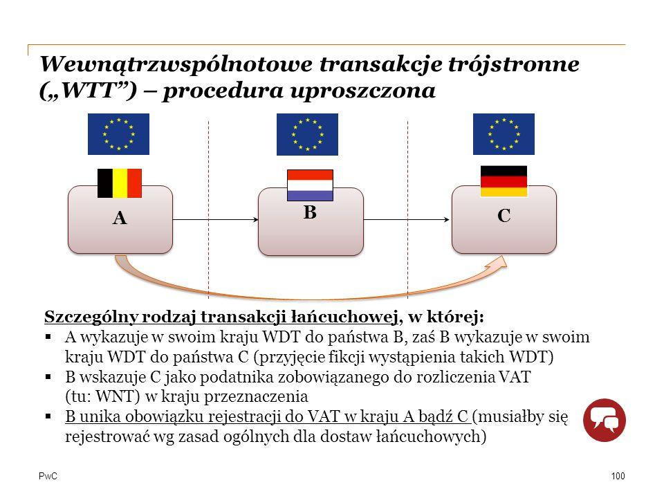 """PwC Wewnątrzwspólnotowe transakcje trójstronne (""""WTT"""") – procedura uproszczona A Szczególny rodzaj transakcji łańcuchowej, w której:  A wykazuje w sw"""