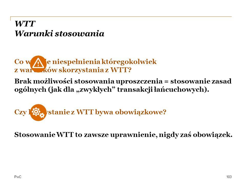 PwC WTT Warunki stosowania Co w razie niespełnienia któregokolwiek z warunków skorzystania z WTT? Brak możliwości stosowania uproszczenia = stosowanie