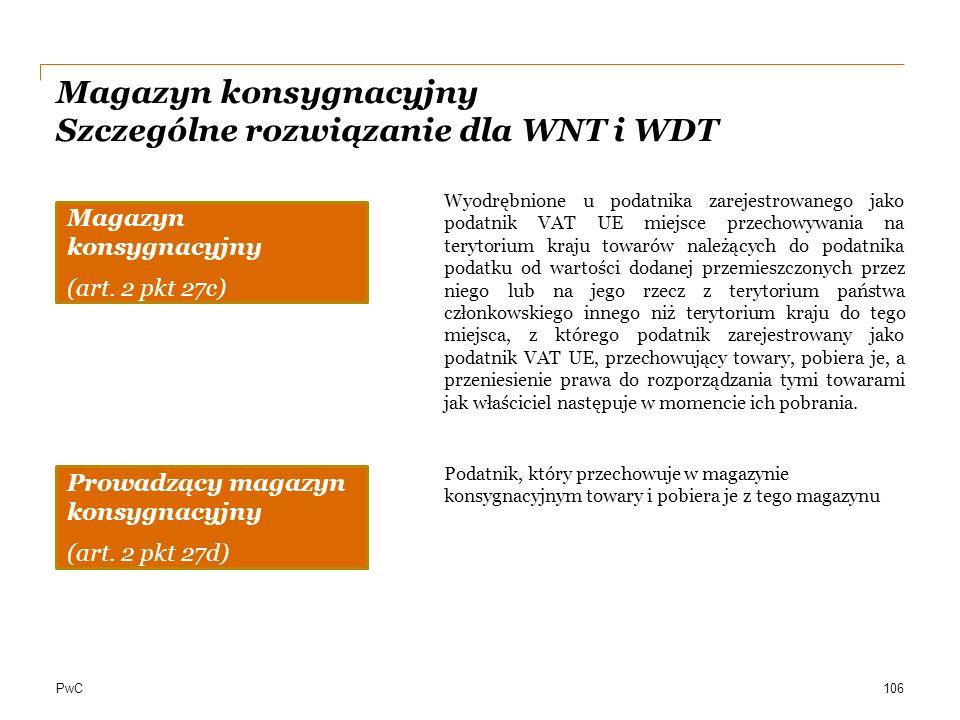 PwC Magazyn konsygnacyjny Szczególne rozwiązanie dla WNT i WDT 106 Magazyn konsygnacyjny (art. 2 pkt 27c) Wyodrębnione u podatnika zarejestrowanego ja
