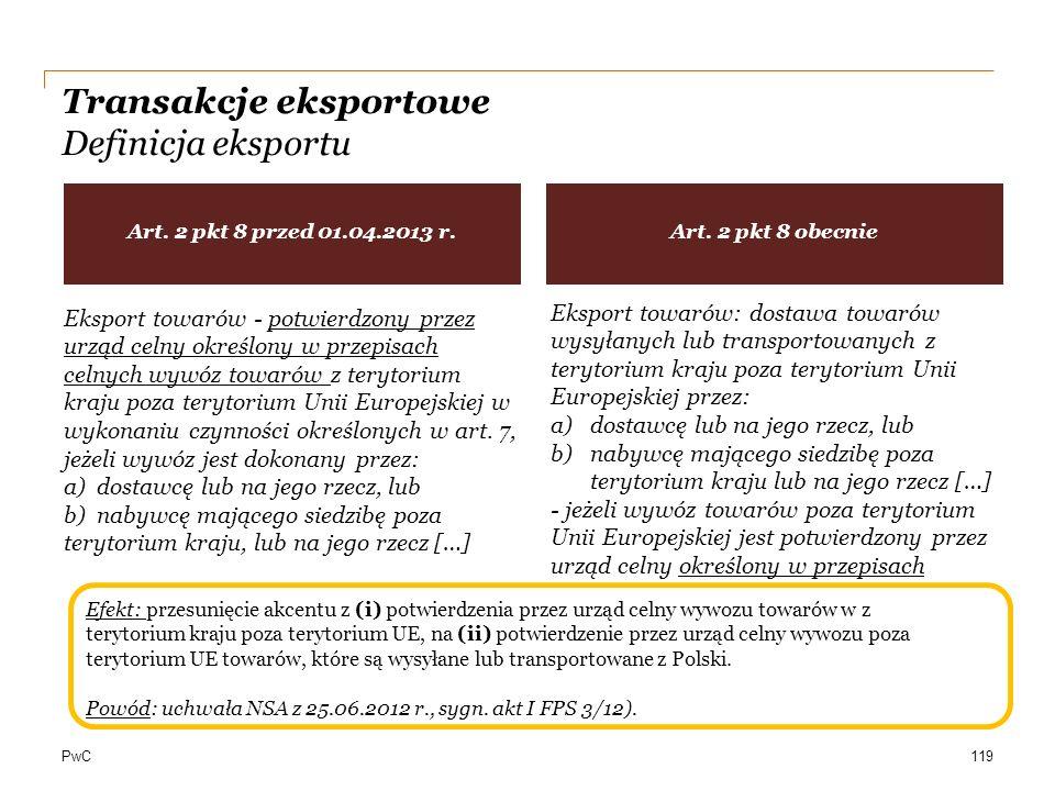 PwC Transakcje eksportowe Definicja eksportu 119 Eksport towarów - potwierdzony przez urząd celny określony w przepisach celnych wywóz towarów z teryt