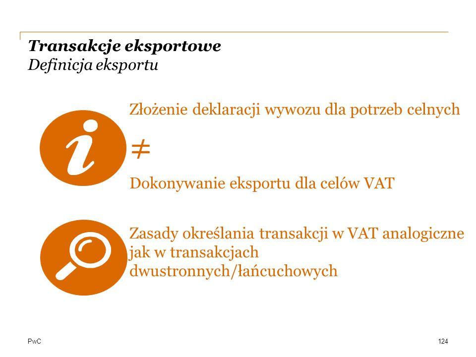 PwC Transakcje eksportowe Definicja eksportu Złożenie deklaracji wywozu dla potrzeb celnych ≠ Dokonywanie eksportu dla celów VAT Zasady określania tra