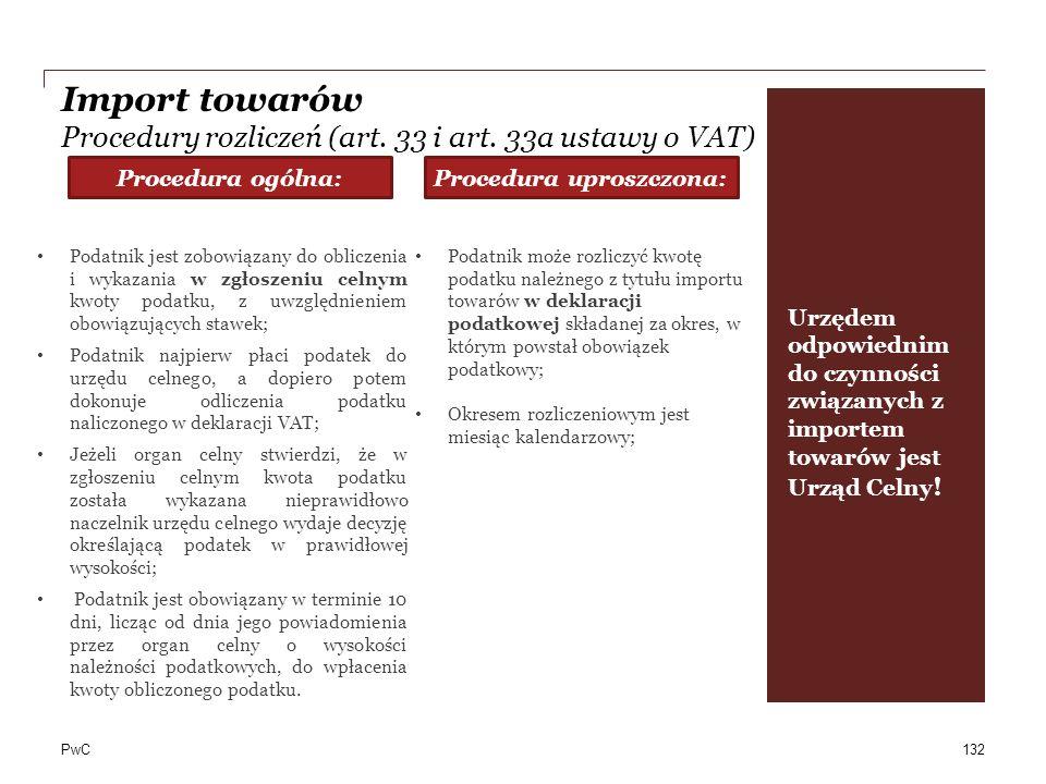 PwC Import towarów Procedury rozliczeń (art. 33 i art. 33a ustawy o VAT) 132 Podatnik jest zobowiązany do obliczenia i wykazania w zgłoszeniu celnym k