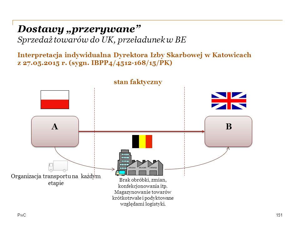 """PwC Dostawy """"przerywane"""" Sprzedaż towarów do UK, przeładunek w BE Organizacja transportu na każdym etapie AB Brak obróbki, zmian, konfekcjonowania itp"""
