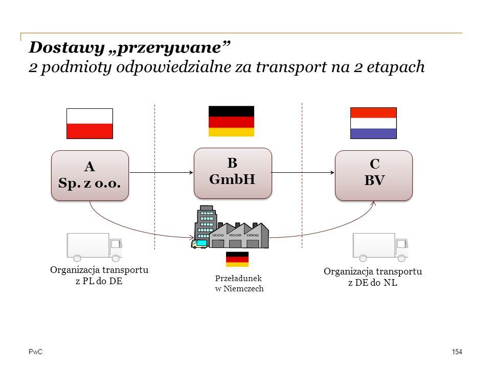 """PwC Dostawy """"przerywane"""" 2 podmioty odpowiedzialne za transport na 2 etapach A Sp. z o.o. C BV Organizacja transportu z PL do DE B GmbH Organizacja tr"""