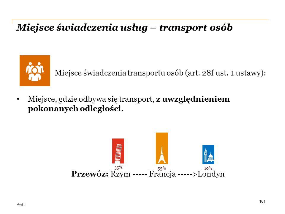 PwC Miejsce świadczenia usług – transport osób Miejsce świadczenia transportu osób (art. 28f ust. 1 ustawy): Miejsce, gdzie odbywa się transport, z uw