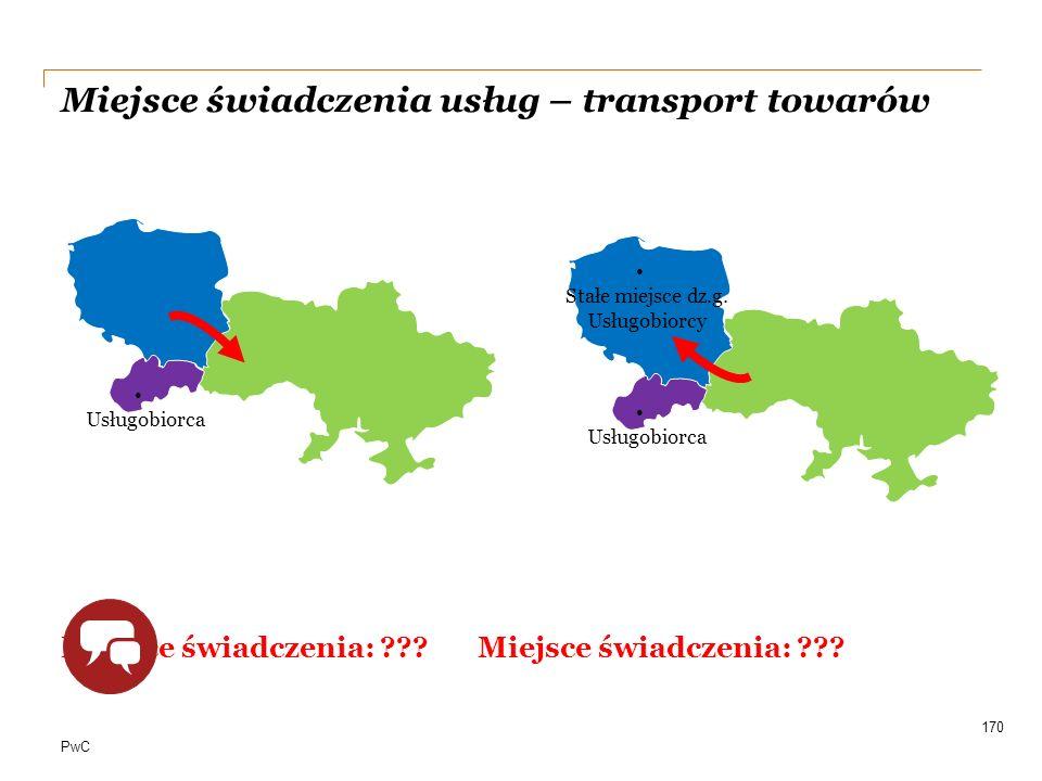 PwC Miejsce świadczenia usług – transport towarów Miejsce świadczenia: ???Miejsce świadczenia: ??? 170 Usługobiorca Stałe miejsce dz.g. Usługobiorcy