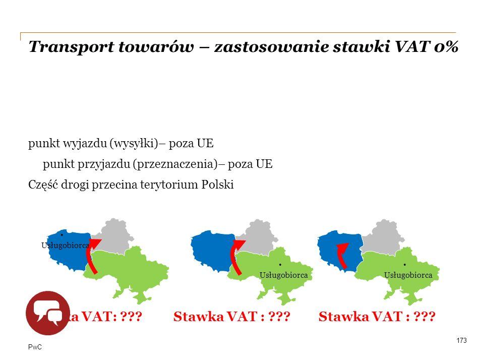 PwC Transport towarów – zastosowanie stawki VAT 0% punkt wyjazdu (wysyłki)– poza UE punkt przyjazdu (przeznaczenia)– poza UE Część drogi przecina tery