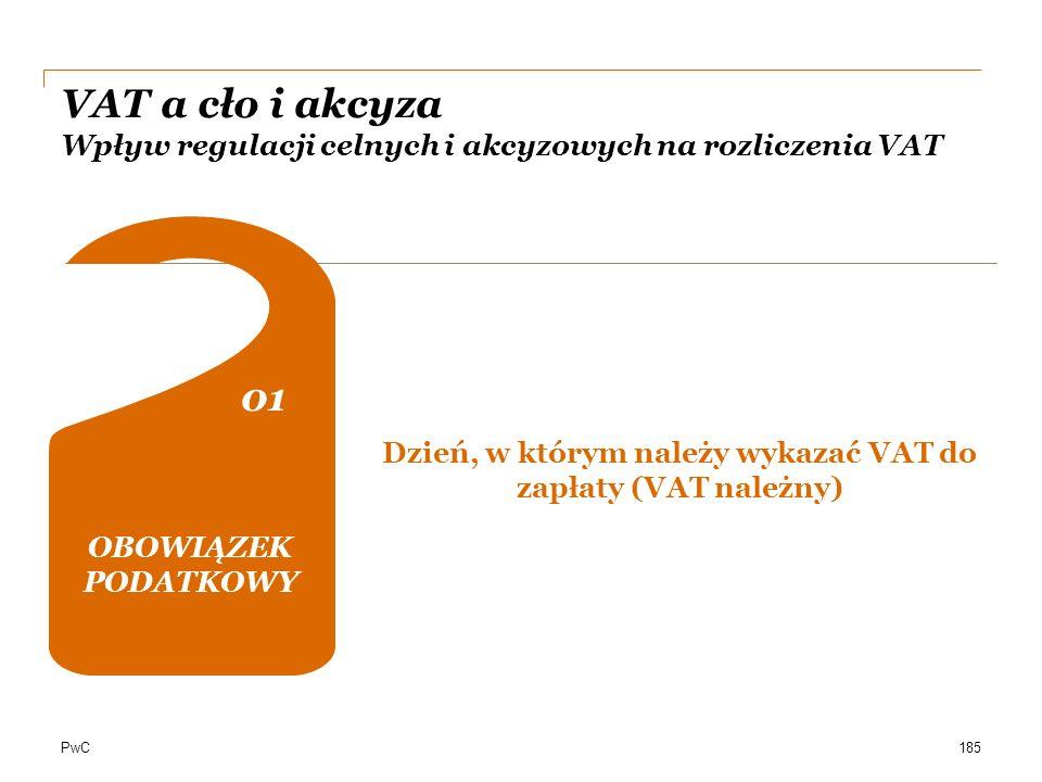 PwC VAT a cło i akcyza Wpływ regulacji celnych i akcyzowych na rozliczenia VAT OBOWIĄZEK PODATKOWY 01 0202 04 DOKUMENTACJA Dzień, w którym należy wyka