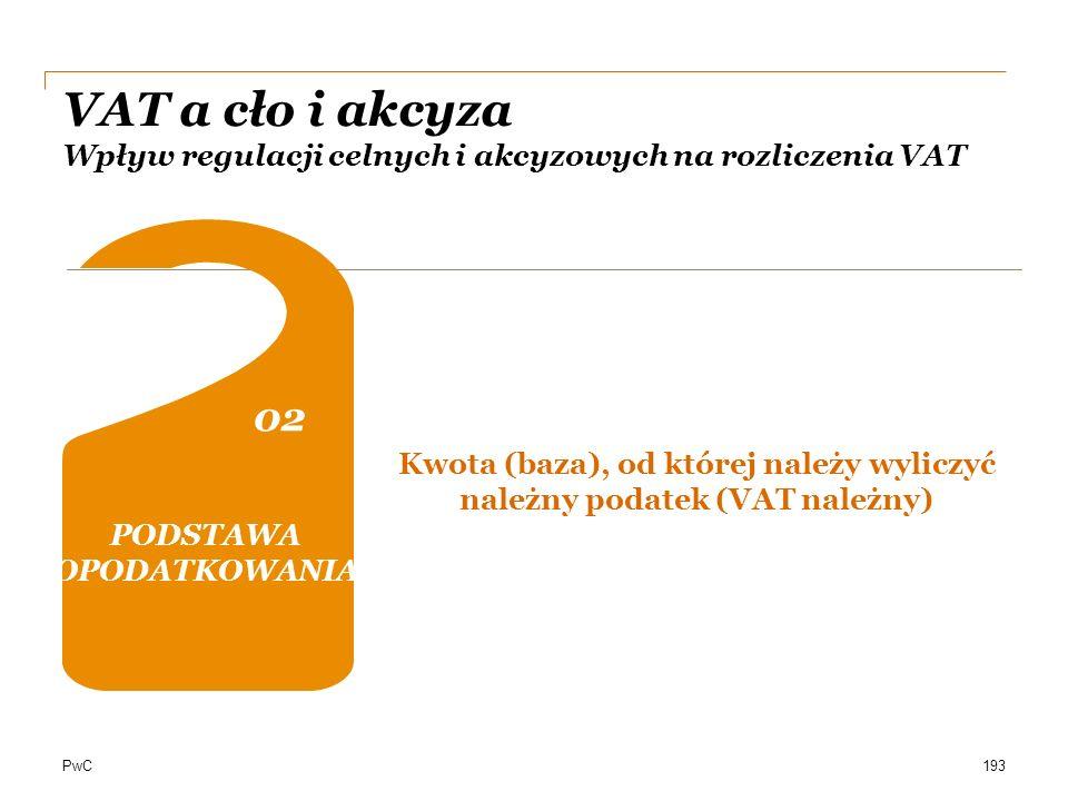 PwC VAT a cło i akcyza Wpływ regulacji celnych i akcyzowych na rozliczenia VAT OBOWIĄZEK PODATKOWY 0202 04 DOKUMENTACJA Kwota (baza), od której należy