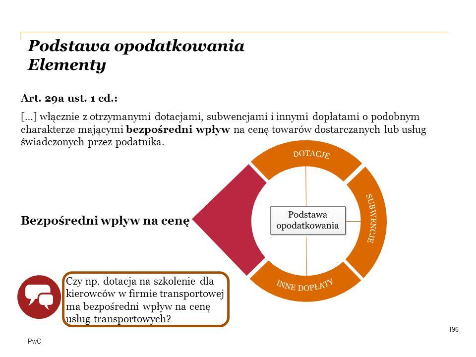 PwC Podstawa opodatkowania Elementy Art. 29a ust. 1 cd.: […] włącznie z otrzymanymi dotacjami, subwencjami i innymi dopłatami o podobnym charakterze m