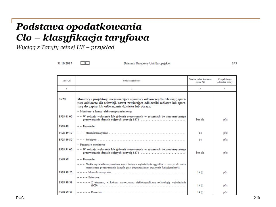 PwC Wyciąg z Taryfy celnej UE – przykład 210 Podstawa opodatkowania Cło – klasyfikacja taryfowa