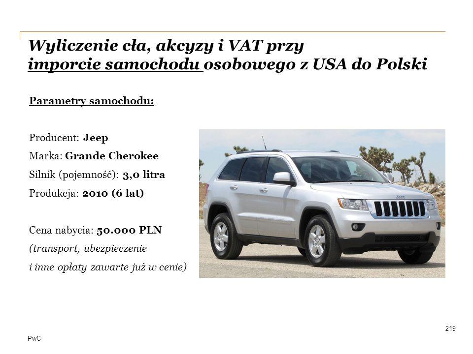 PwC 219 Parametry samochodu: Producent: Jeep Marka: Grande Cherokee Silnik (pojemność): 3,0 litra Produkcja: 2010 (6 lat) Cena nabycia: 50.000 PLN (tr