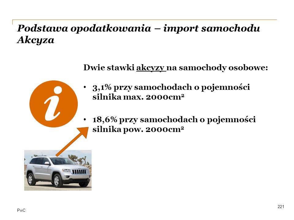 PwC 221 Dwie stawki akcyzy na samochody osobowe: 3,1% przy samochodach o pojemności silnika max. 2000cm 2 18,6% przy samochodach o pojemności silnika