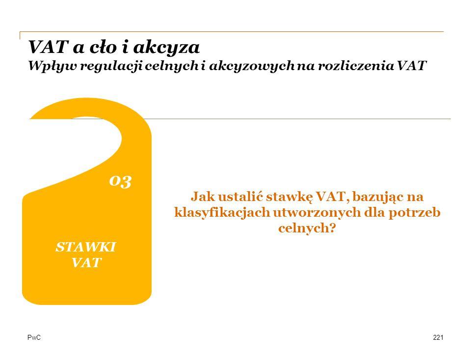 PwC VAT a cło i akcyza Wpływ regulacji celnych i akcyzowych na rozliczenia VAT STAWKI VAT 0303 0202 04 DOKUMENTACJA Jak ustalić stawkę VAT, bazując na