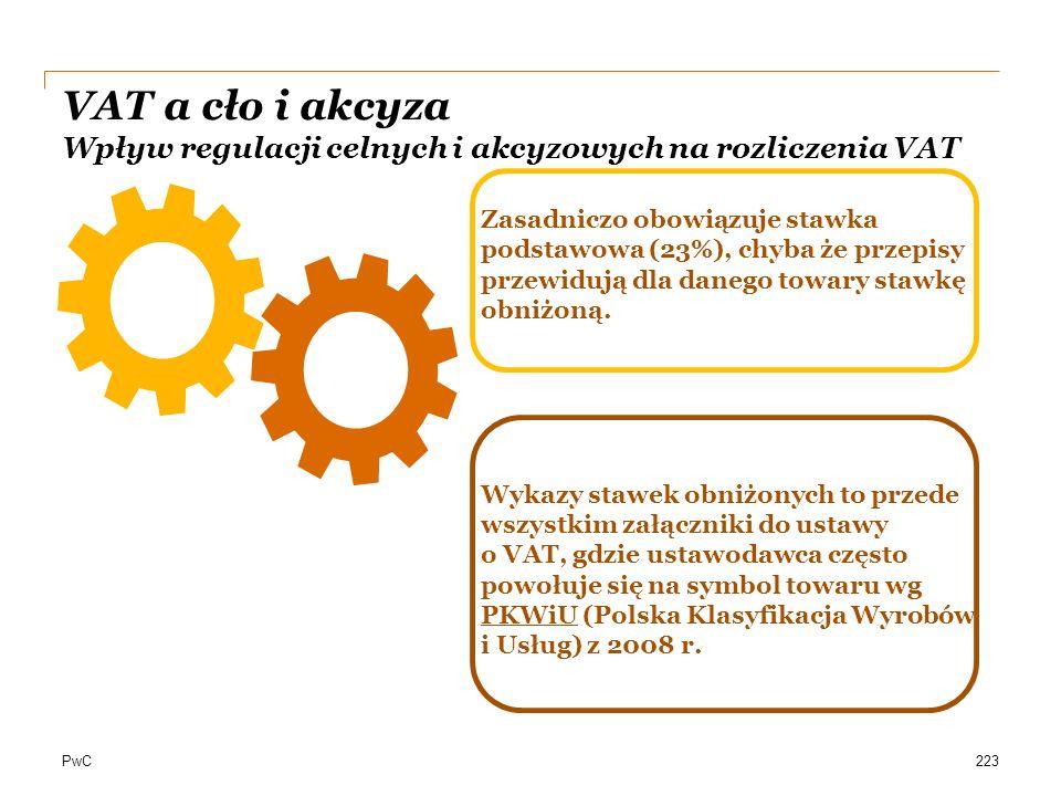 PwC223 Zasadniczo obowiązuje stawka podstawowa (23%), chyba że przepisy przewidują dla danego towary stawkę obniżoną. Wykazy stawek obniżonych to prze